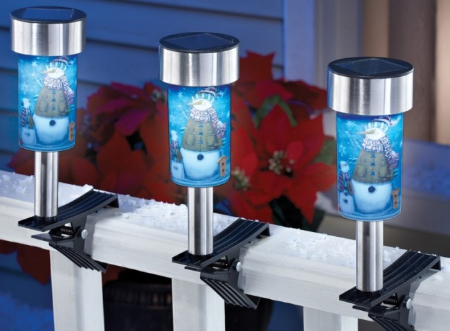 Snowman Solar Light Clips