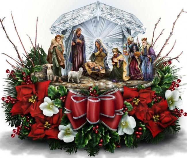 The Thomas Kinkade Crystal Nativity Floral Piece