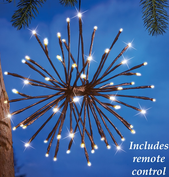 Lighted Hanging Twig Starburst With Remote Control Christmas