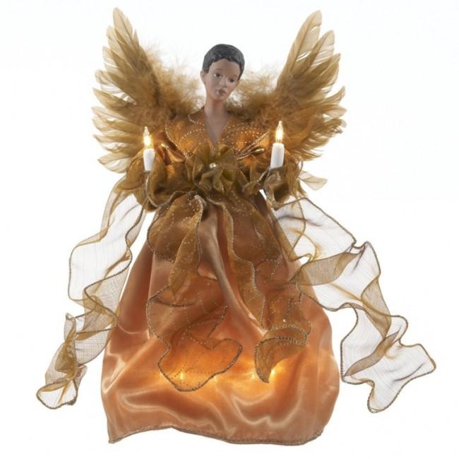 African American Angel Christmas Treetop Figurine