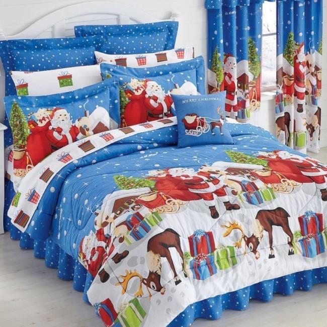 Blue Santa Claus & Reindeer Christmas Presents King Comforter Set