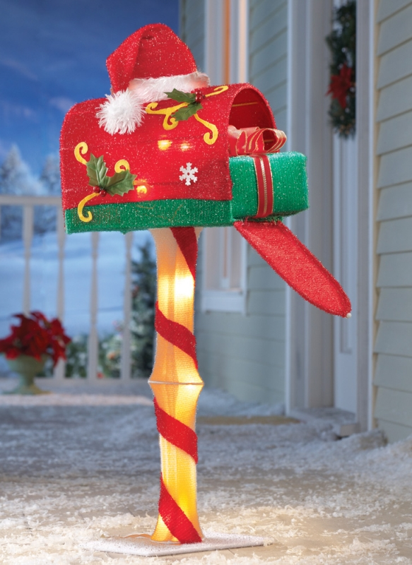 Candy Cane Lighted Santa Mailbox