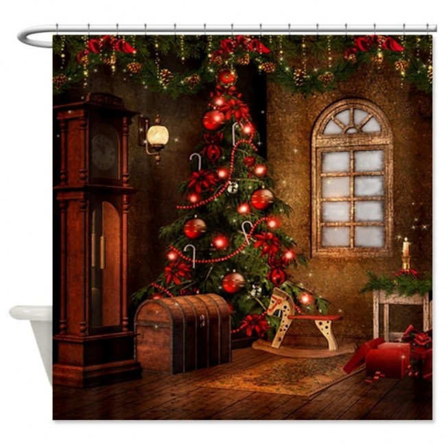 Elegant Christmas Shower Curtain