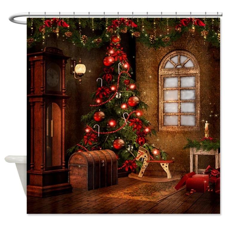 Elegant Christmas Shower Curtain Christmas