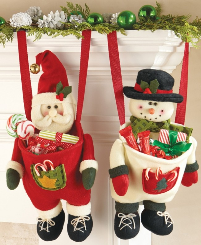 Festive Hanging Christmas Stocking with Pouch