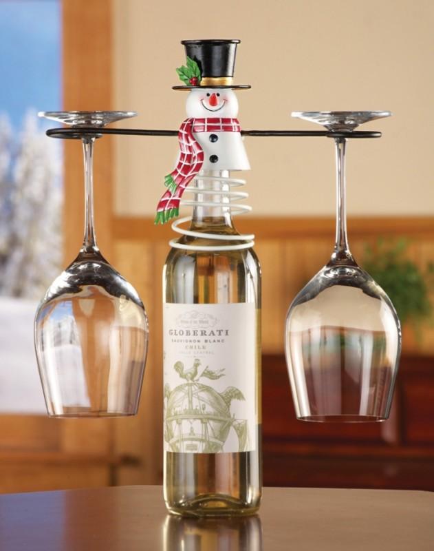 Holiday Snowman Wine Glass Holder Bottle Topper