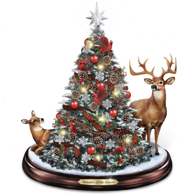 Illuminated Holiday Tabletop Tree With Deer And Cardinals