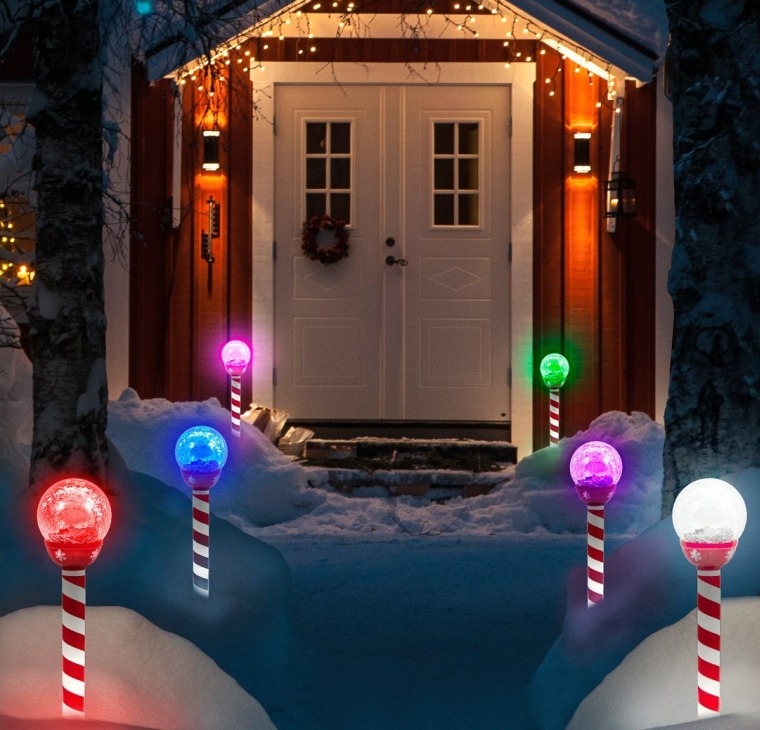 Led Solar Pathway Lights Christmas Crackle Color Christmas