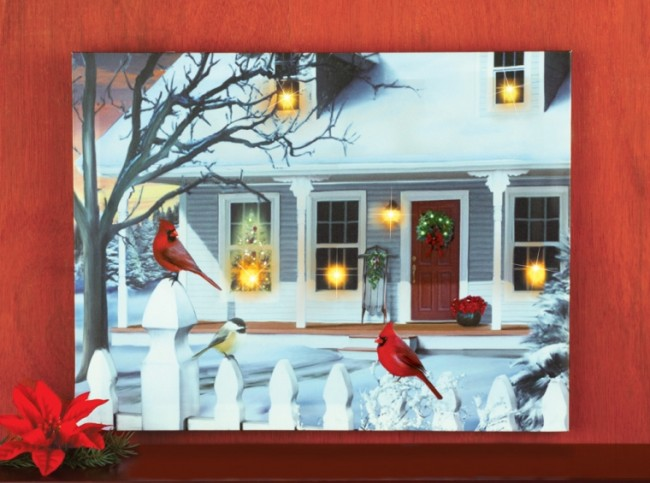 LED and Fiber Optics Christmas Cardinals Canvas Wall Decor