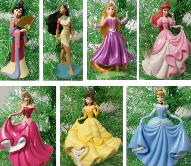 PRINCESS 7 Piece Holiday Christmas Tree Ornament Set