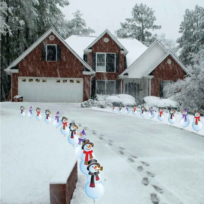 Snowmen Christmas Pathway Markers - Set of 20