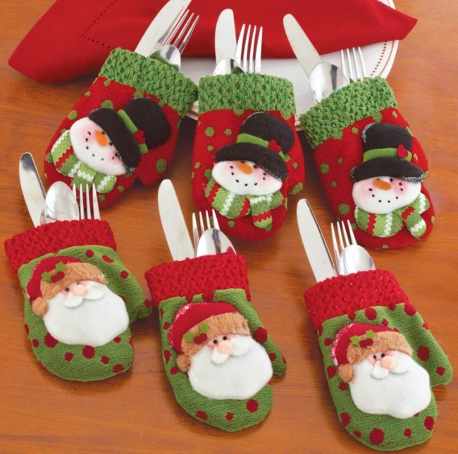 Christmas Mitten Silverware Holders