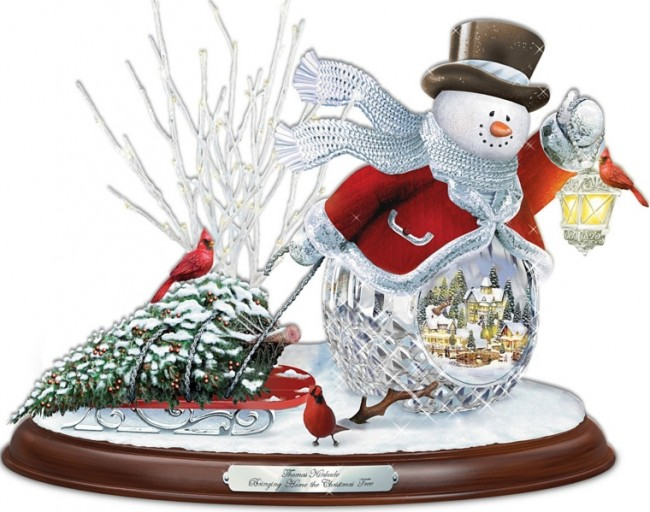 Crystal Snowman Bringing Home The Christmas Tree Musical Sculpture