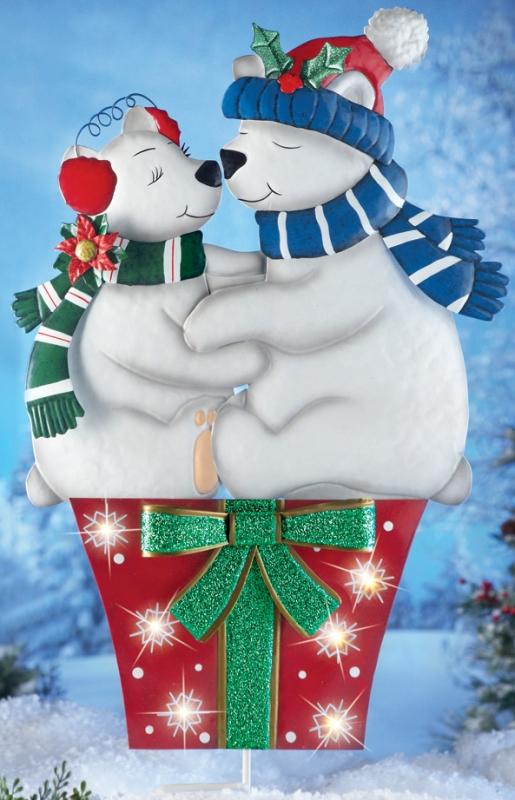 Holiday Kissing Polar Bears Garden Stake