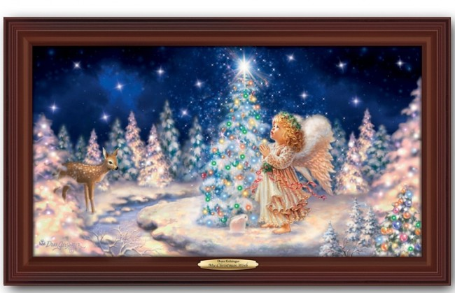 Illuminated Canvas Print Wall Decor Featuring Angel