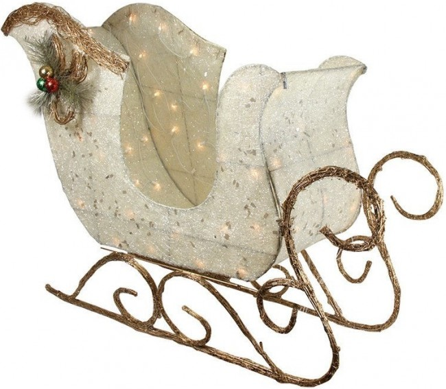 Lighted Christmas Sleigh Yard Art Decoration