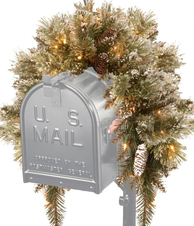 National Tree Glittery Bristle Pine Mailbox Swag