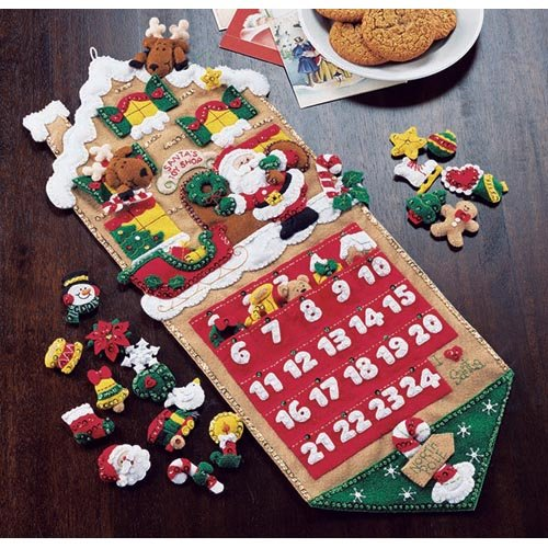Plaid Santas Toy Shop Felt Applique Advent Calendar Kit