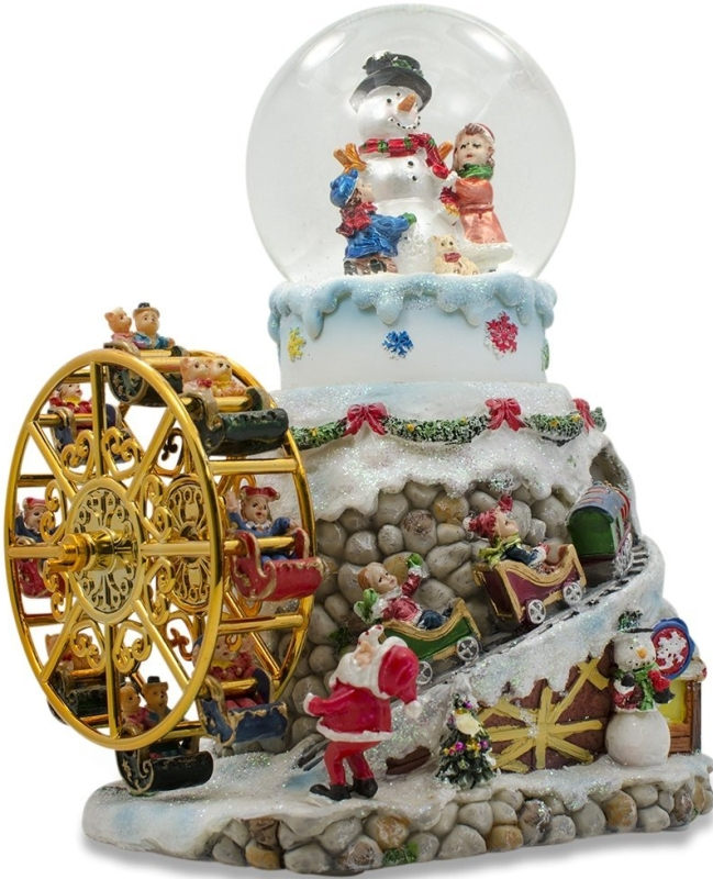 Revolving Ferris Wheel and Snow Globe Christmas Music Box