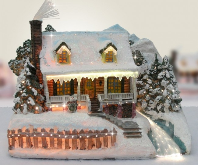 Snow Village Fiber Optic House Log Cabin Mountain