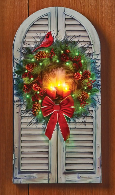LED Fiber Optic Holiday Window Wreath Canvas