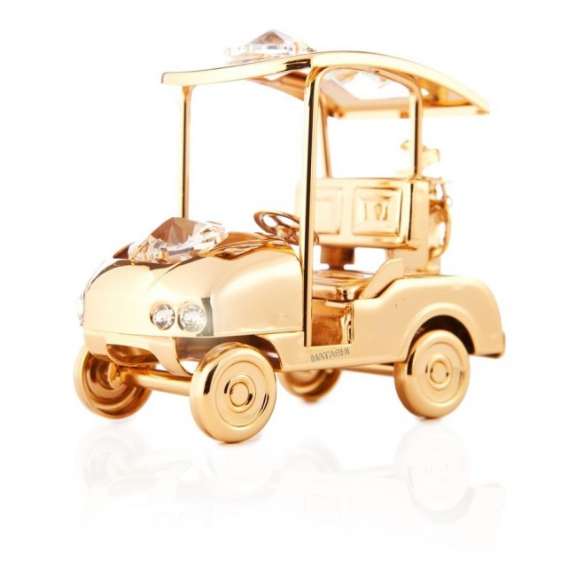 24k Gold Plated Golf Cart Ornament Made with Swarovski Elements