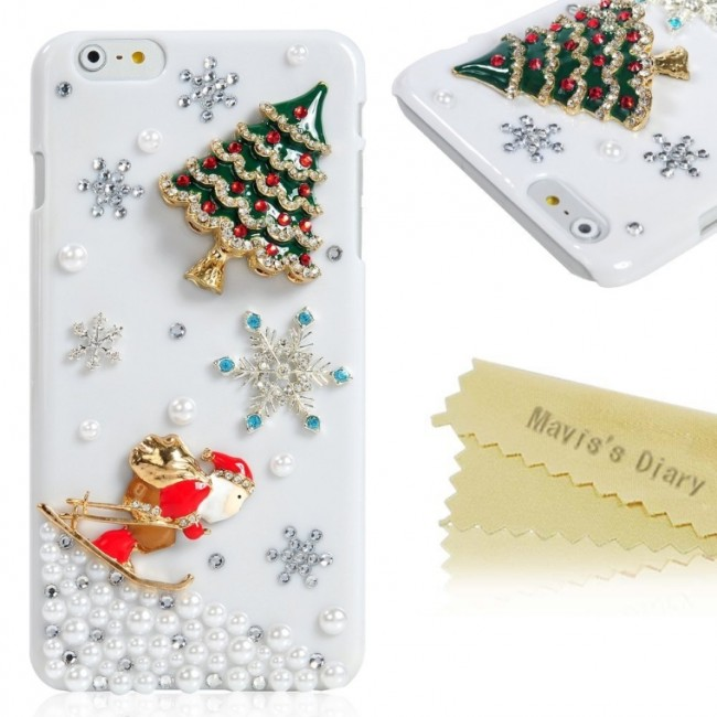 3D Handmade Bling Crystal Christmas Tree Santa Claus Sparkle Rhinestone Snow PC Case Hard Cover for iPhone 6 Plus(5.5'')