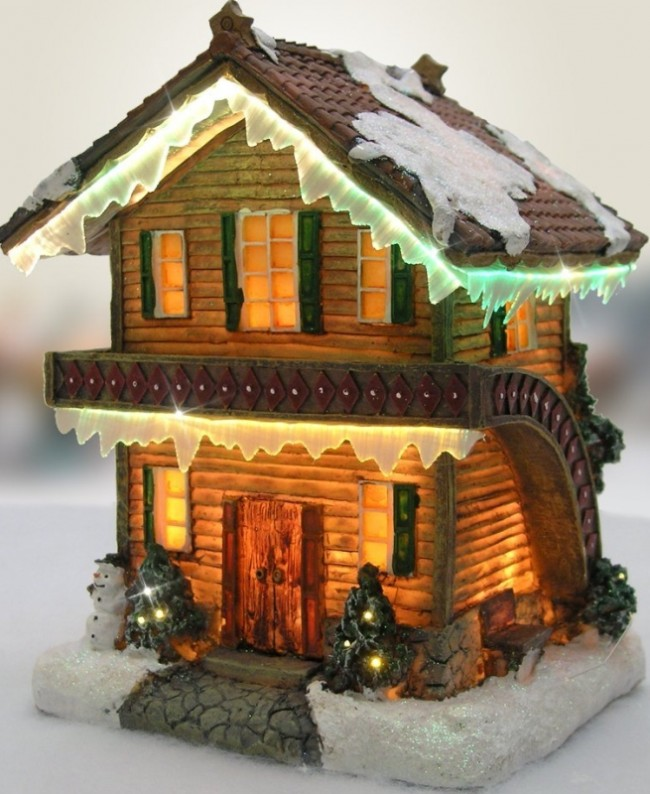 Christmas Snow Village Log Cabin Chalet Fiber Optic LED