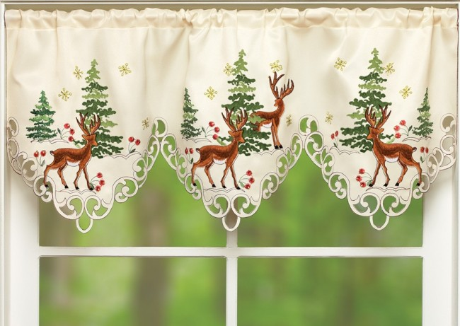 Embroidered Northwoods Window Valance