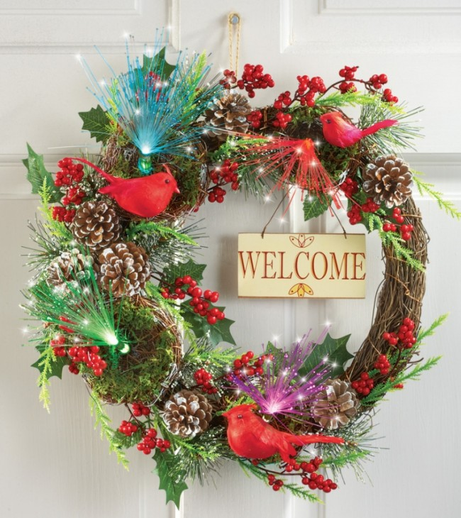 Fiber Optic Cardinal Berry Welcome Wreath