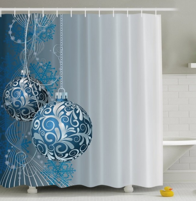 Holiday Christmas Ornaments Fabric Shower Curtain