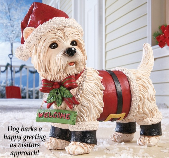 Holiday Motion Sensor Santa Dog
