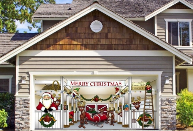 Huge Santa's Reindeer Barn Outdoor Christmas Holiday Garage Door Décor
