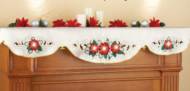 Lighted Holiday Poinsettia Mantel Scarf