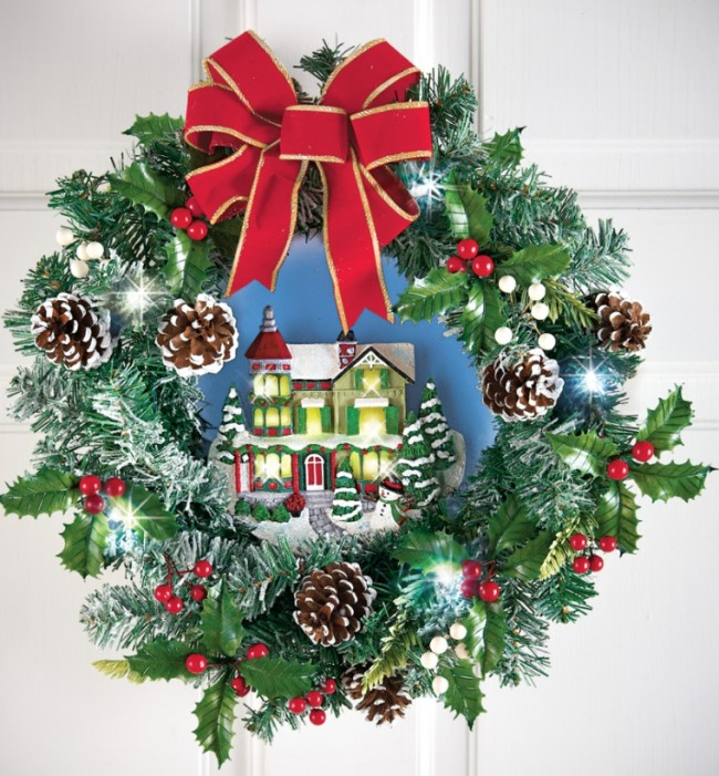 Lighted Victorian House Pinecone Wreath