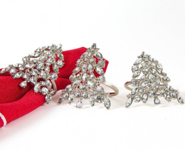 Luxe Shimmer Holiday Christmas Tree Jeweled Metal Napkin Rings