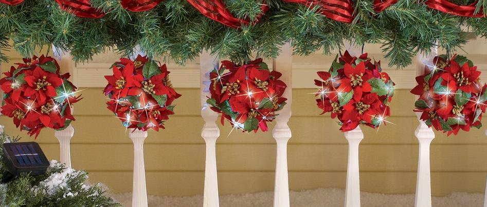 Solar Poinsettia Topiary Ball String Light Set Christmas