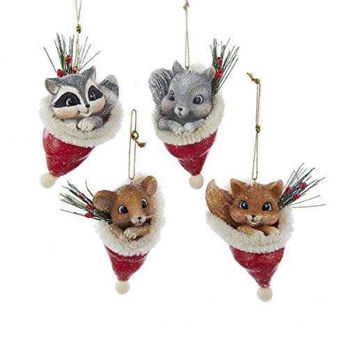 Vintage Animal IN Santa Hat Ornament