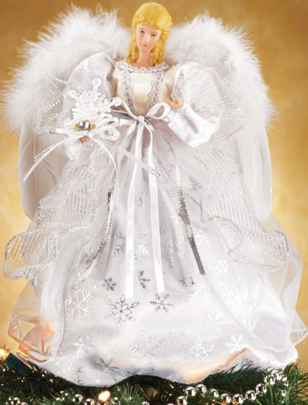 White Snowflake Angel Christmas Tree Topper