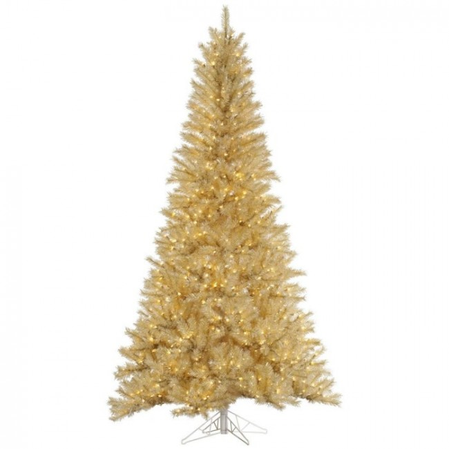 12' Pre-Lit White and Gold Tinsel Full Artificial Christmas Tree