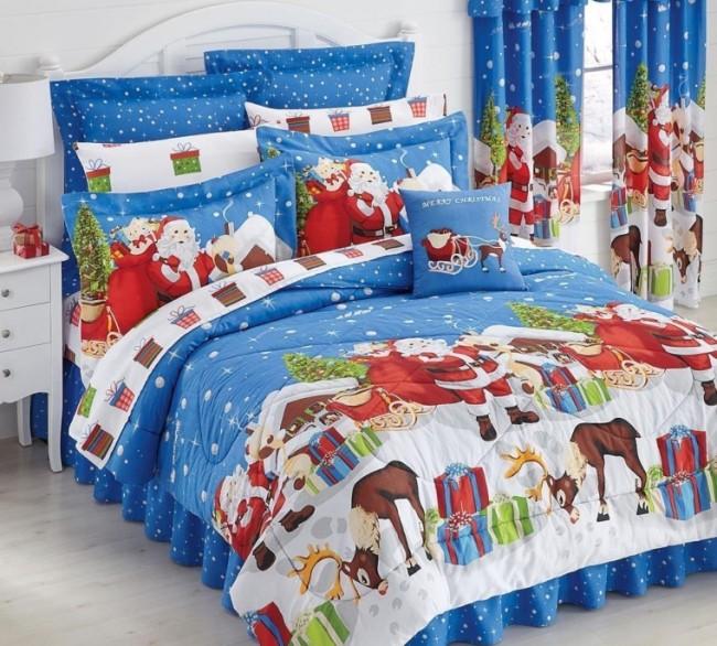 Blue Santa Claus & Reindeer Christmas Presents Queen Comforter Set