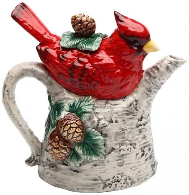 Cardinal on Birch Tree Ceramic Teapot,