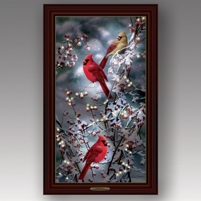 Cardinals In Snow Lights Up Canvas Print Wall Decor