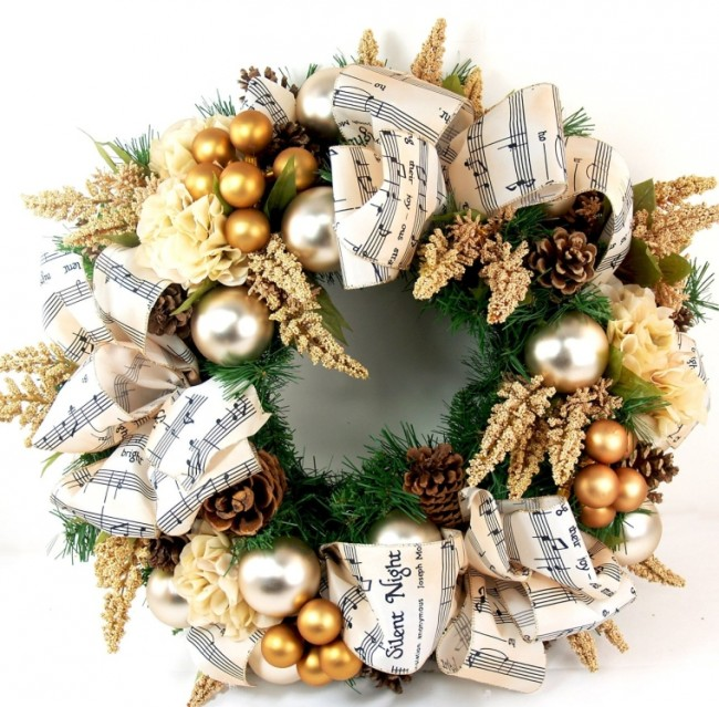 Christmas Carol Silk Holiday Door Wreath
