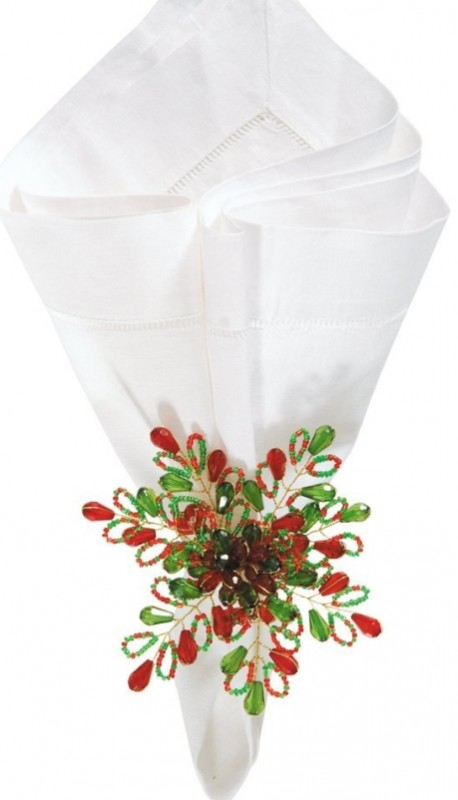 Christmas Holiday RED & Green Beaded Snowflake Flower Napkin Ring
