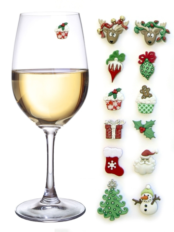 Christmas Magnetic Wine Glass Charms and Markers