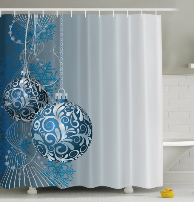 Christmas Ornaments Fabric Shower Curtain