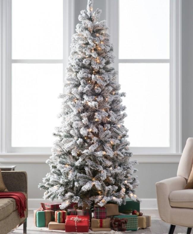 . Classic Flocked Slim Pre-Lit Christmas Tree