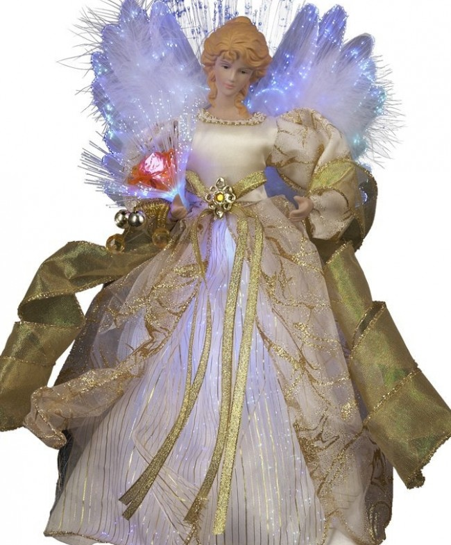 Fiber Optic LED Angel Christmas Treetop Figurine