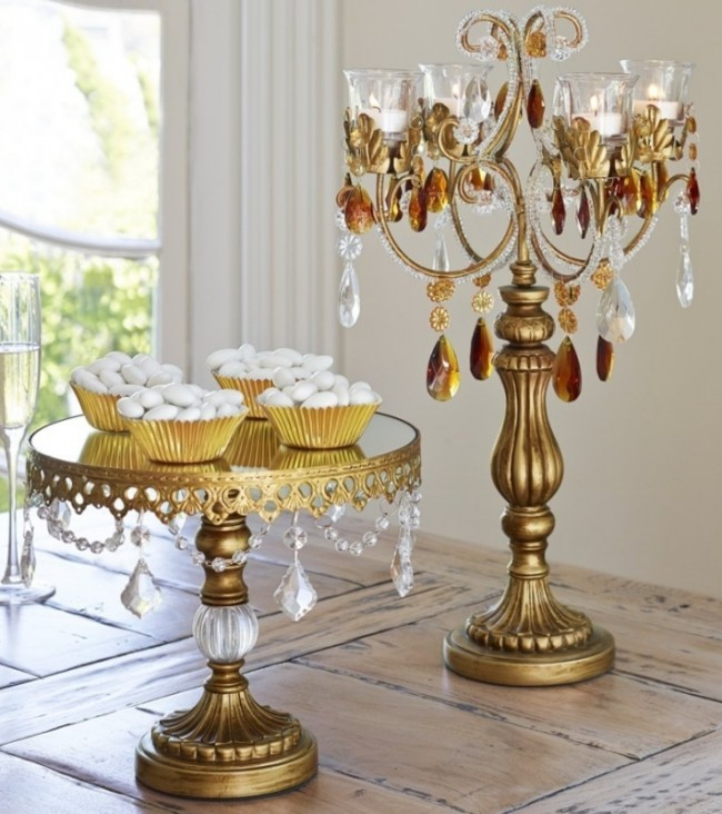 Gold Beaded Small Cake Stand